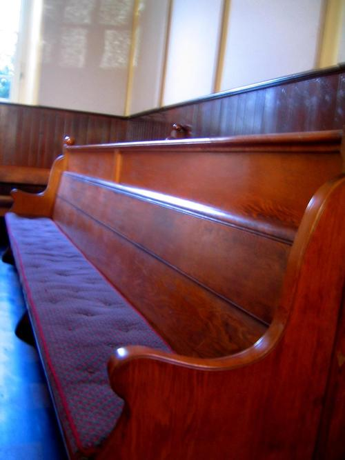 A bench in a traditional Quaker meeting room